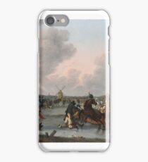 HENDRICK DE MEIJER - ICE SKATERS AND A DECORATED HORSE-DRAWN SLEIGH ON A FROZEN RIVER WITH WINDMILLS AND A TOWN BEYOND iPhone Case/Skin