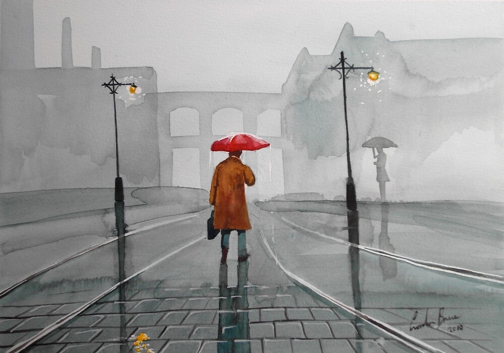 RAINY DAY WATERCOLOUR PAINTING by GORDON BRUCE ART
