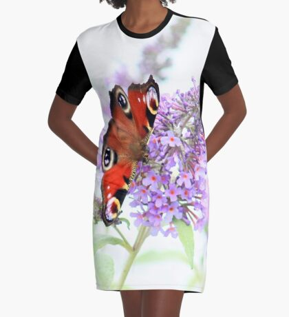 Peacock on the buddleia Graphic T-Shirt Dress