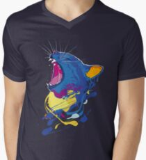 Surreal colored psychedelic yawning cat  Men's V-Neck T-Shirt