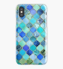 Cobalt Blue, Aqua & Gold Decorative Moroccan Tile Pattern iPhone Case/Skin