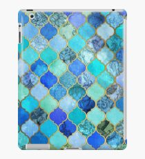 Cobalt Blue, Aqua & Gold Decorative Moroccan Tile Pattern iPad Case/Skin
