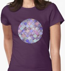 Royal Purple, Mauve & Indigo Decorative Moroccan Tile Pattern Womens Fitted T-Shirt