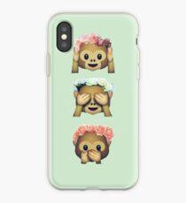 see no evil monkey emoji hipster flower crown tumblr iPhone Case