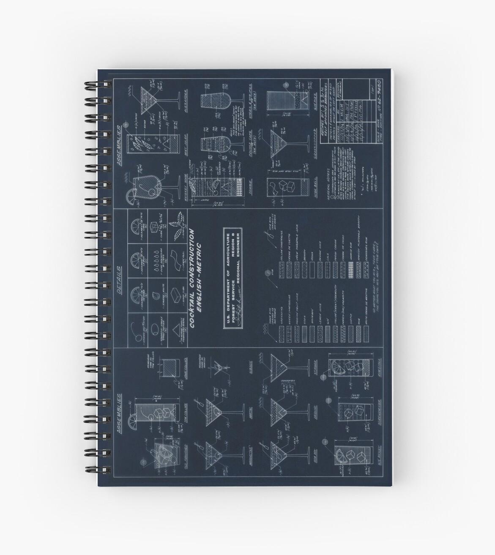 Cocktail Bauplan - Blueprint Version von United States Forest Service von Framerkat