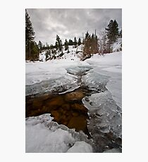 The Provo River frozen in winter Photographic Print