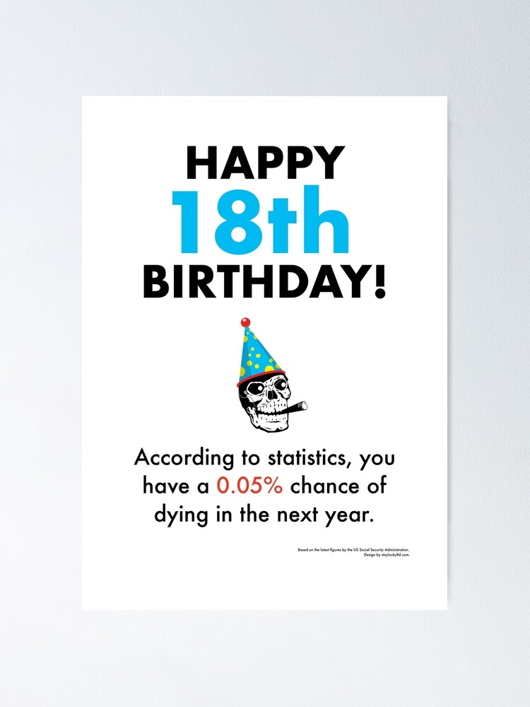 Alternate view of You have a 0.05% chance of dying in the next year - 18th birthday card [depressing statistics greetings card] Poster