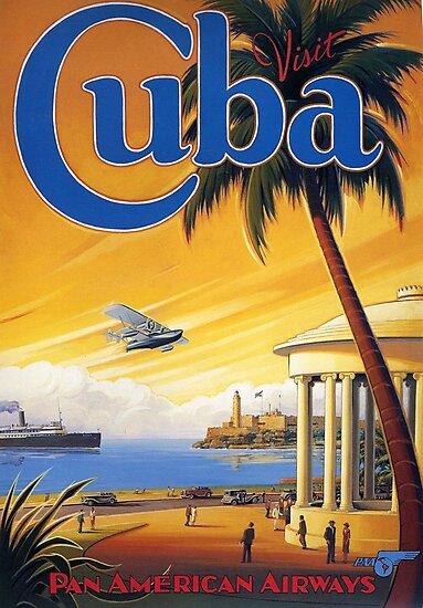Visit Cuba Pan American Airlines Vintage Travel Poster by Framerkat