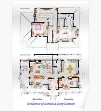 House of Lorelai & Rory Gilmore - Both Floorplans Poster