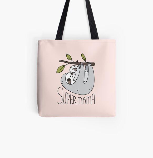 Super Mama Mom and Baby Sloth All Over Print Tote Bag