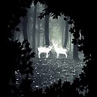HP best friend - magic stag and doe in the forest with trees borders - witch / wizard  by Vane22april