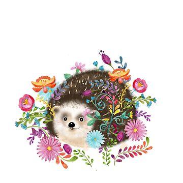 Cute Hedgehog and Folk Flowers by Cartoonistlg