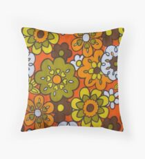 Retro Cool Mid Century Floral Fabric Design in Avocado Green, Harvest Gold, Brown, and Orange Throw Pillow