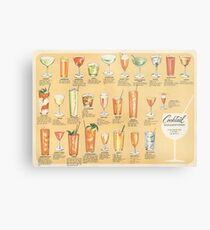 Mid Century Cocktail Suggestions Vintage Design Metal Print