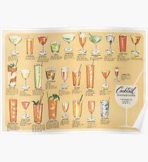 Mitte des Jahrhunderts Cocktail Vorschläge Vintage Design Poster