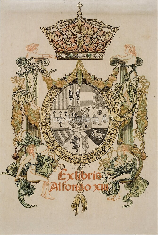'Book Plate of Alphons XIII' by Alexandre de Riquer (Reproduction) by Roz Abellera
