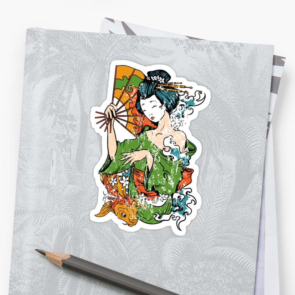 Japanese Art Geisha Pegatina