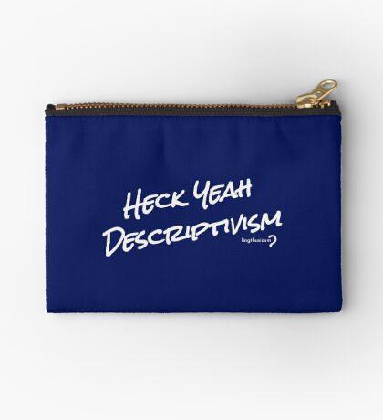 Heck Yeah Descriptivism - Pouch in white on blue Zipper Pouch