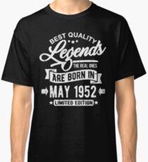 Camiseta clásica Legends born in may 1952