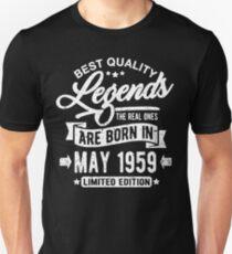 Camiseta unisex Legends born in may 1959