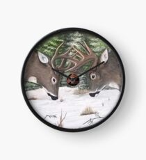 Whitetail Deer Bucks Fighting Clock
