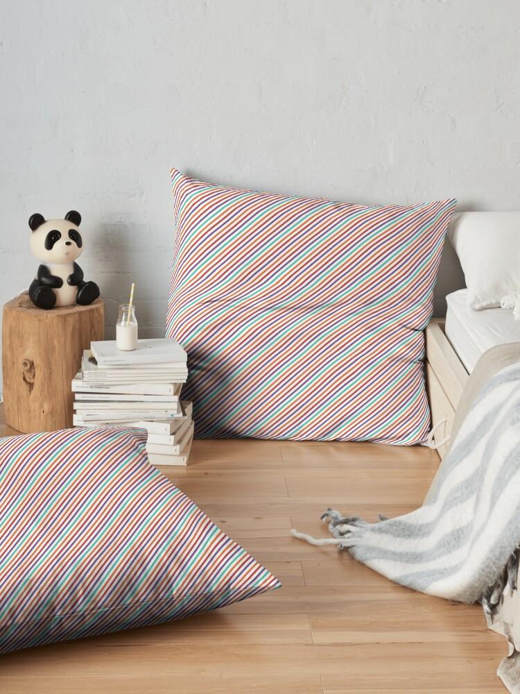 Alternate view of Geometrical violet red orange modern stripes pattern Floor Pillow