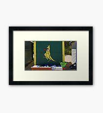The boxing kangaroo beach hut Framed Print