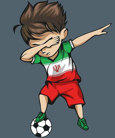 Dabbing Soccer Boy Iran Jersey Football