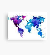 Watercolor Map of the World Canvas Print