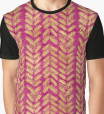 Fancy Gold Brush Pattern Graphic T-Shirt