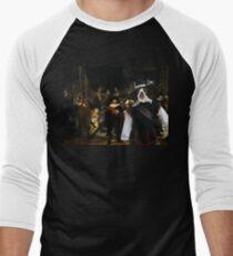 Boston Terrier Art - The Night Watch Men's Baseball ¾ T-Shirt