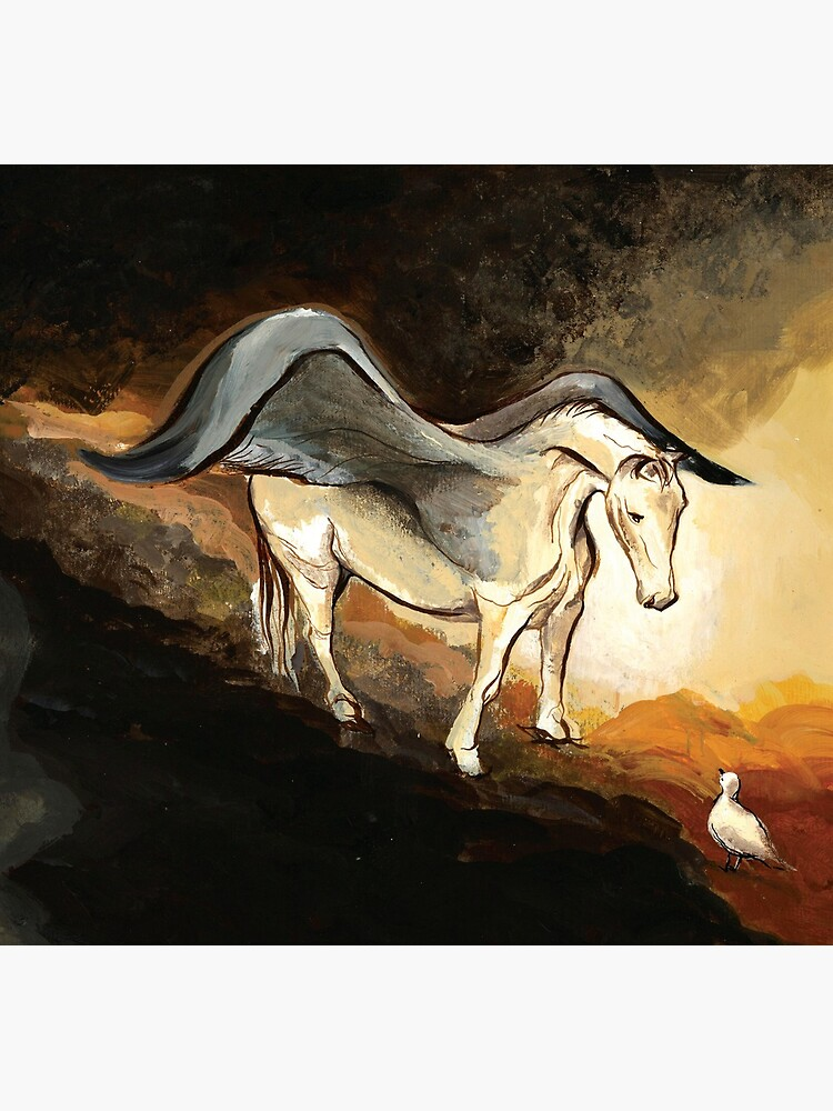 Winged horse with seagull - Silver Stream Children's Book illustration by CatarinaGarcia