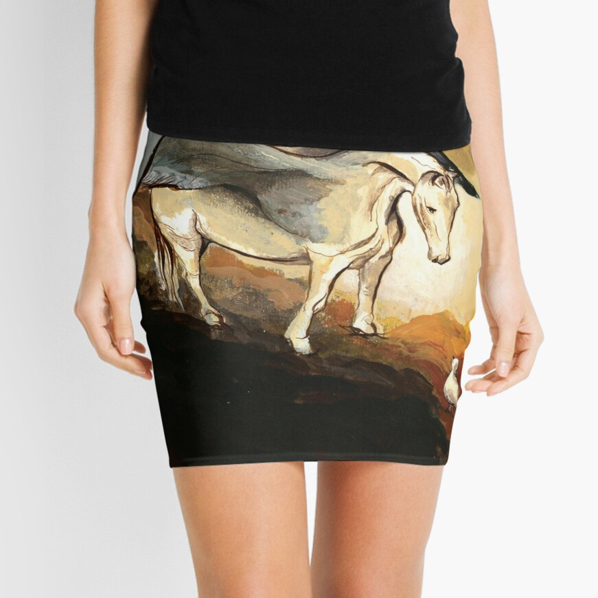 Winged horse with seagull - Silver Stream Children's Book illustration Mini Skirt