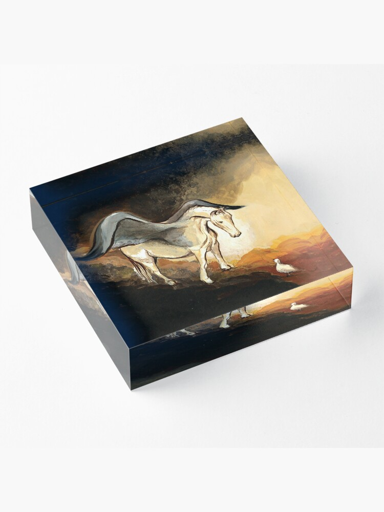 Alternate view of Winged horse with seagull - Silver Stream Children's Book illustration Acrylic Block