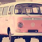 Pink camper van by Ingrid Beddoes