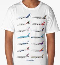 Airbus A380 Operators Illustration - Blue Version Long T-Shirt
