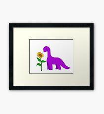 Sauropod and Sunflower Framed Print