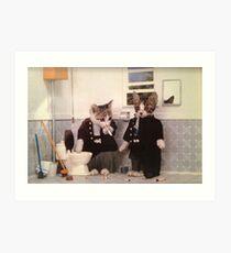 Smoking Kittens Art Print