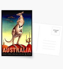 """AUSTRALIA OUTBACK"" Weinlese-Känguru-Reise-Plakat Postkarten"