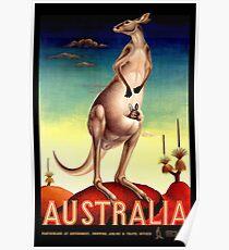 """AUSTRALIA OUTBACK"" Vintage Kangaroo Travel Poster Poster"