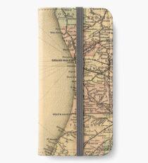 Vintage Map of Lake Michigan (1876) iPhone Wallet/Case/Skin