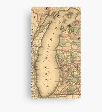 Vintage Map of Lake Michigan (1876) Canvas Print
