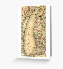 Vintage Map of Lake Michigan (1876) Greeting Card