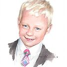 grandson in sport coat watercolor by Mike Theuer