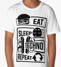 Eat Sleep Techno Repeat - Party Electronic Music Long T-Shirt