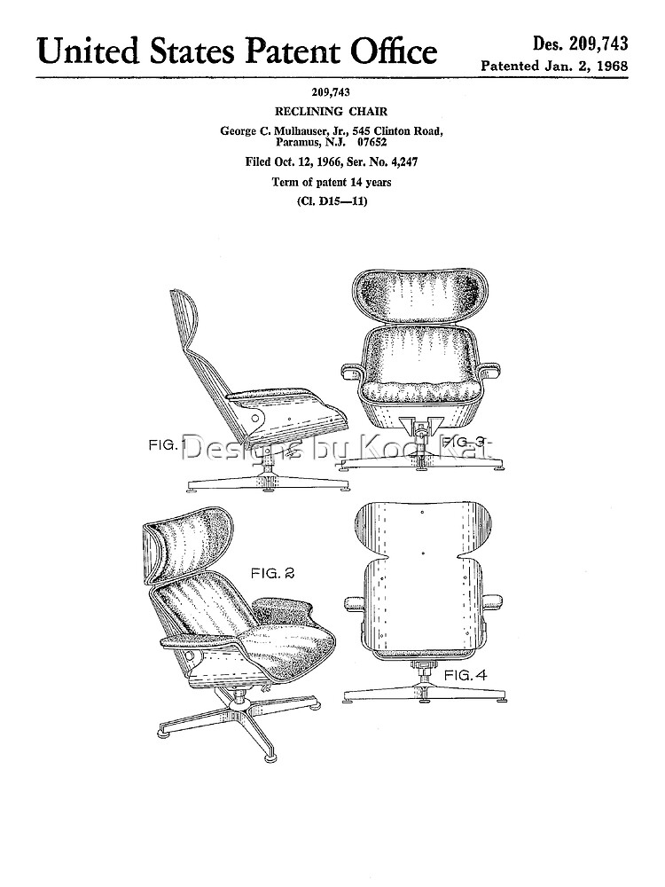 Pleasing Iconic Eames Recliner Lounger Lounge Chair Patent Drawings Canvas Print Beatyapartments Chair Design Images Beatyapartmentscom