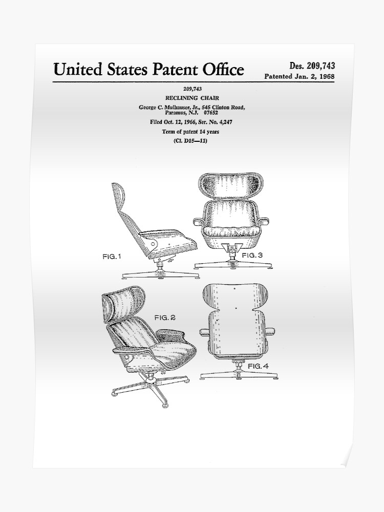 Terrific Iconic Eames Recliner Lounger Lounge Chair Patent Drawings Poster Beatyapartments Chair Design Images Beatyapartmentscom