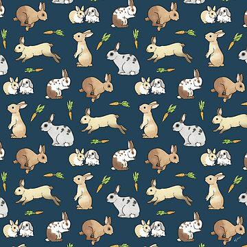 Rabbits on navy background by HazelFisher