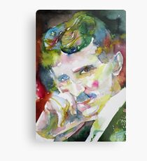NIKOLA TESLA - watercolor portrait.9 Metal Print
