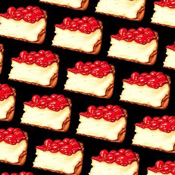 Cherry Cheesecake Pattern - Black by KellyGilleran